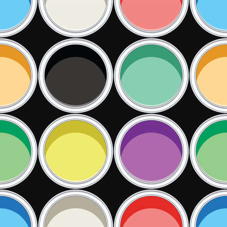 paint cans: seamless background pattern of colorful paint cans