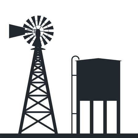 black and white background of rural wind pump and water tank