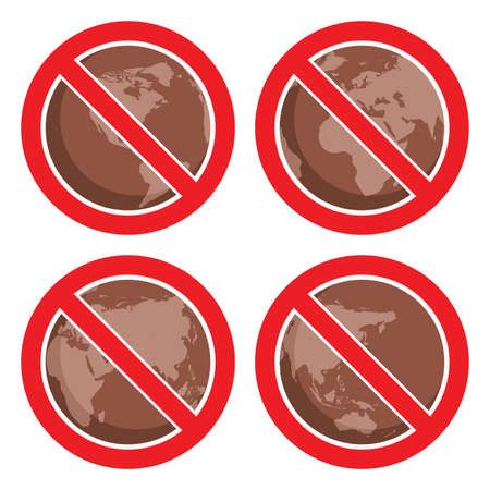 stop pollution: flat icons to stop global earth pollution Illustration