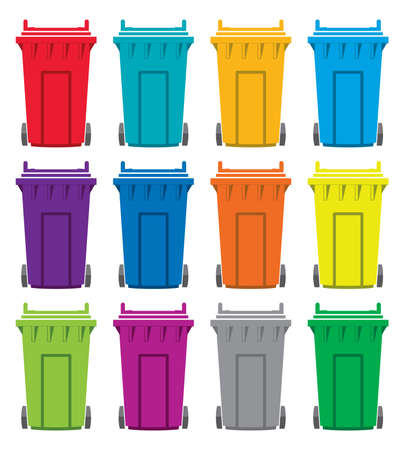 set of colorful flat recycling wheelie bin icons Illustration