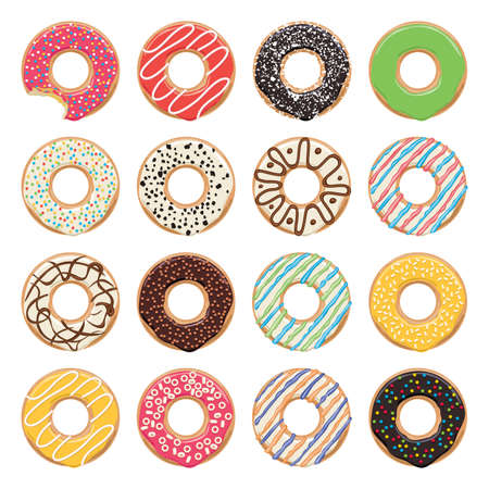 flat icons of glazed colorful donuts on white background, one donut is bitten