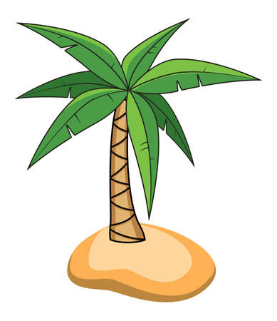 travel backgrounds: cartoon of palm tree on a small island for travel backgrounds Illustration