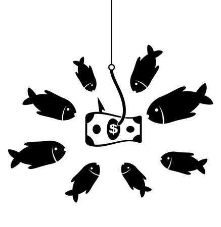 temptation: black and white business symbol with hook, bait and hungry fishes in temptation to catch a dollar