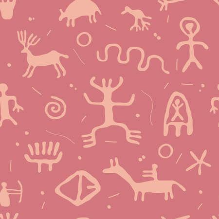 archeology: ancient cave petroglyphs seamless pattern