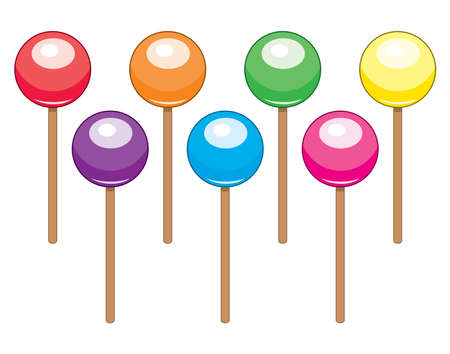 collection of colorful lollipop candy balls Illustration