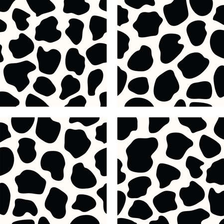 skin color: black and white set of seamless cow skin patterns