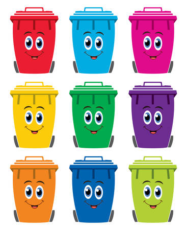 wheelie: vector set of colorful flat recycling wheelie bin icons, happy to store rubbish, recycling and garden waste