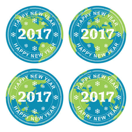 worldwide wish: vector collection of happy new year 2017 rubber stamps on earth globes, all over the world celebration concept