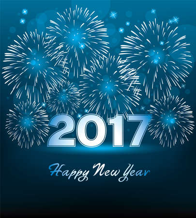 vector happy new year 2017 card with fireworks