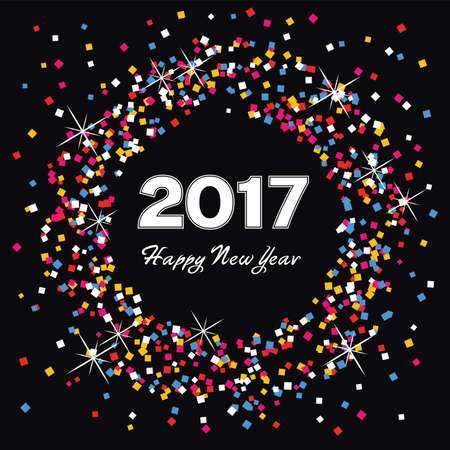 celebration card: vector colorful background for happy new year 2017 celebration card Illustration