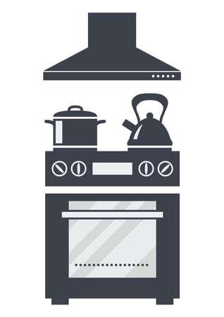 icona di vettore del forno elettrico della cucina con la minestra, il bollitore e un cappuccio