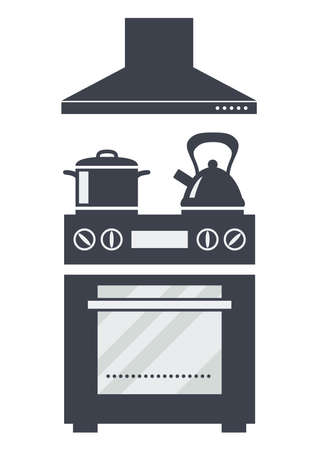 vector icon of kitchen electric oven with soup pan, kettle and a hood