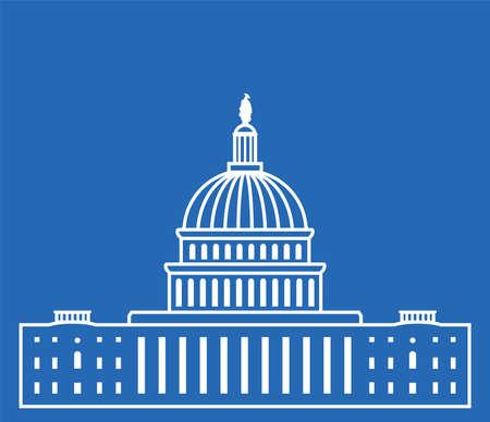 icône états-unis bâtiment capitol hill washington dc, Congrès américain, conception de symbole blanc sur fond bleu Vecteurs