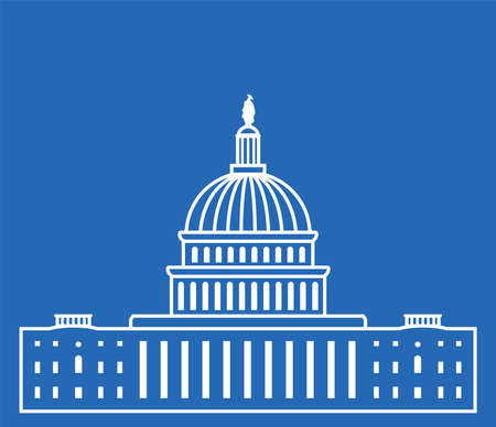 congresses: icon of united states capitol hill building washington dc, american congress, white symbol design on blue background
