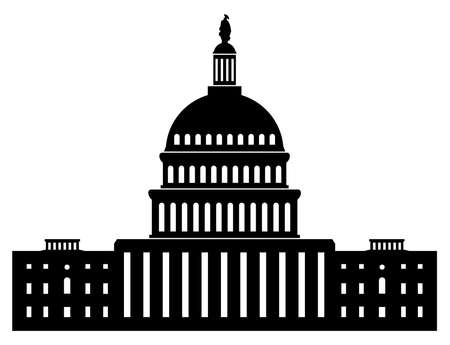 black and white icon of capitol building washington dc american congress