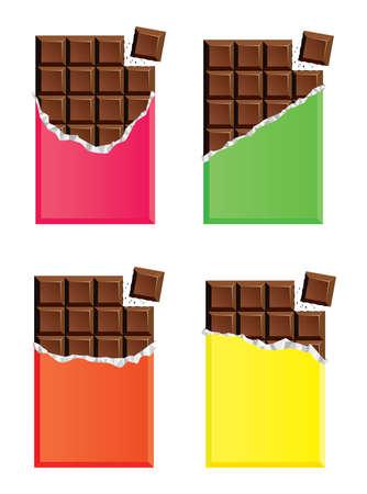 verzameling van geopende donkere chocoladerepen met een stukje chocoladereep, roze, groen, oranje en geel papieren omhulsel
