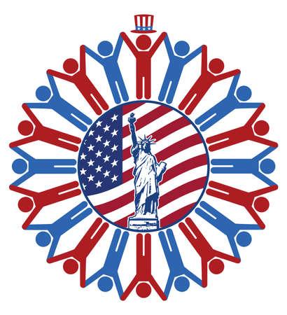 diversidad: icono con la bandera de los Estados Unidos de América, estatua de la libertad, presidente, republicano y símbolos Demócrata de personas