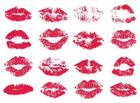 set of stylized red woman lipstick prints isolated on white background 向量圖像