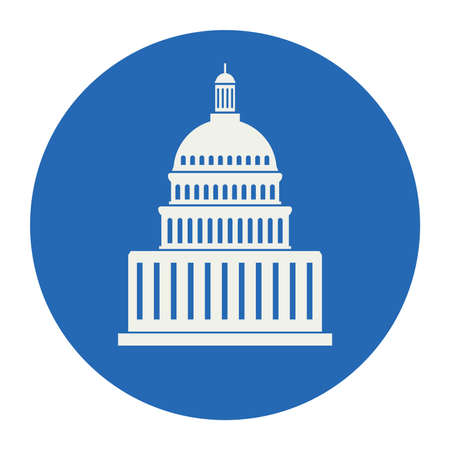 congresses: icon of united states capitol hill building washington dc, american congress, white symbol design on round blue background