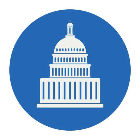 icoon van de Verenigde Staten Capitol Hill gebouw in Washington DC, Amerikaanse congres, wit symbool ontwerp op ronde blauwe achtergrond Stock Illustratie