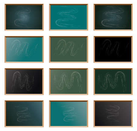 school classroom: vector set of school blackboard empty icons, board frames for education design, classroom frame boards isolated on white background, eps10