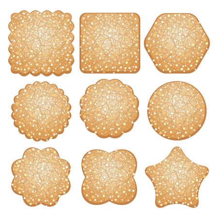 biscuits: vector set of sugar cookies of different shapes isolated on a white background