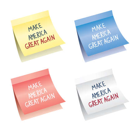 again: vector paper notes isolated on white background with make america great again words, reminder for every american patriot, eps10 illustration