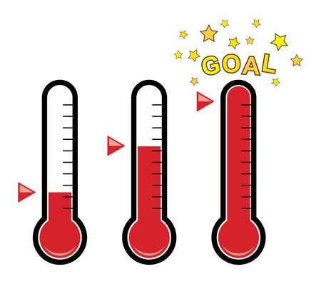 Vector clipart conjunto de termómetros de meta en diferentes niveles con grados / sin números / estrellas doradas y dispositivo de medición de temperatura de bulbo rojo para negocios y fondos de caridad