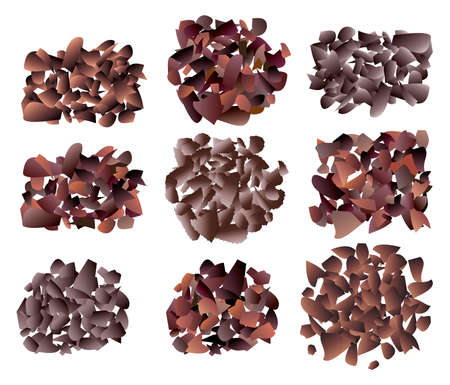crumb: vector set of sweet dark chocolate bar crumb piles on white background