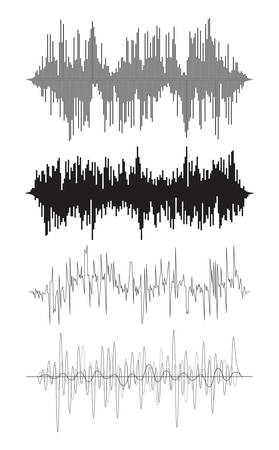 vector music background of audio sound waves pulse, equalizer voice frequency, black and white set Illustration
