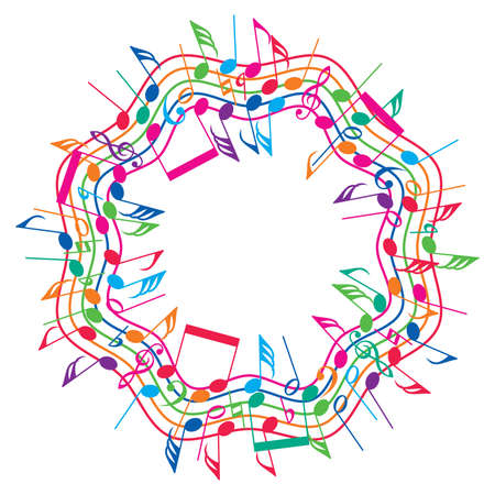 vector round colorful background of music notes on wavy staves, collection of abstract classical music symbols in a circle shape, creative concept in rainbow colors