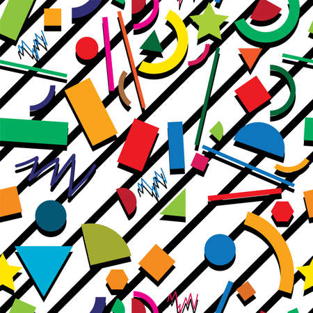vector seamless 80s or 90s background pattern, hipster style with chaotic geometric shapes, retro design with black stripes on white background