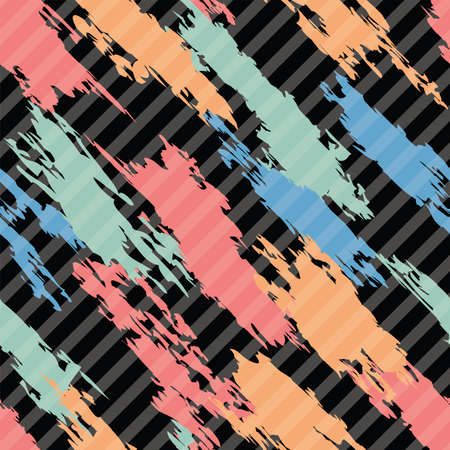 abstract seamless: vector seamless pattern of colorful abstract shapes on dark diagonal striped background