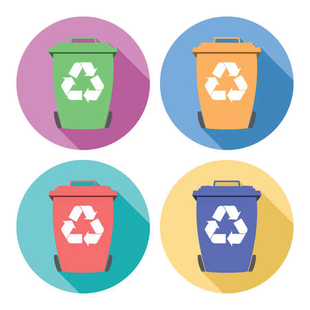 recycling symbols: vector set of colorful flat recycling wheelie bin icons with recycle arrow symbols Illustration