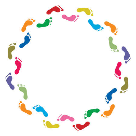 footmark: vector abstract illustration of colorful footprint symbols, background border