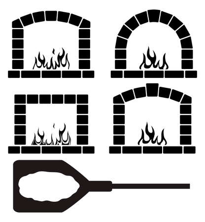 woodfire: Vector black and white clipart set of ovens with burning fire and pizza on a shovel symbol, pizzeria or restaurant graphic design