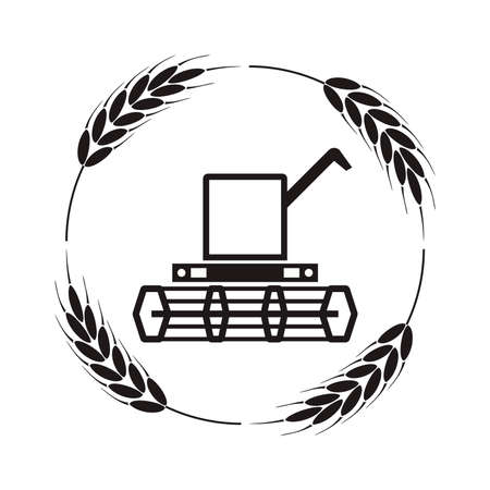 Vector icon of combine harvester and wheat ears, black and white agricultural background, machinery farm harvest industry