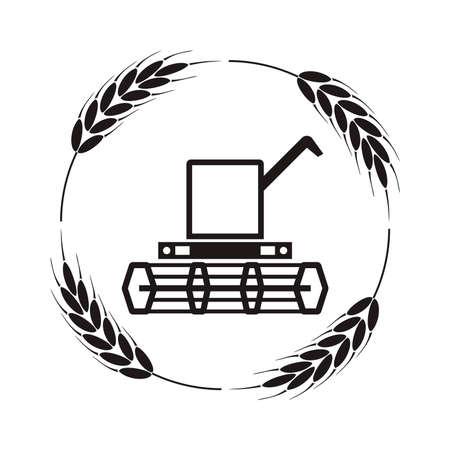 Wektor ikona kombajnu zbożowego i pszenicy uszy, czarno-białe tło rolnicze, przemysł żniwny maszyn rolniczych