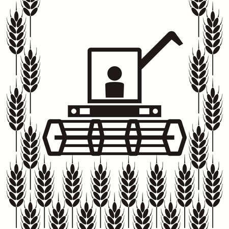 wheat harvest: vector icon of combine harvester and wheat ears, black and white agricultural background, machinery farm harvest industry Illustration