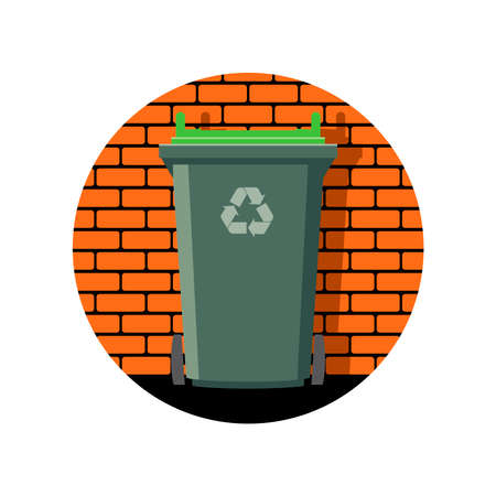 vector icon of recycling wheelie bin against the background of a brick wall, garbage can recycle icon, container with symbol of recycling to protect environment from pollution Illustration