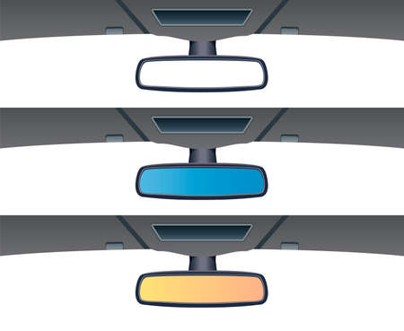 rear view: vector set of car rear view mirrors Illustration