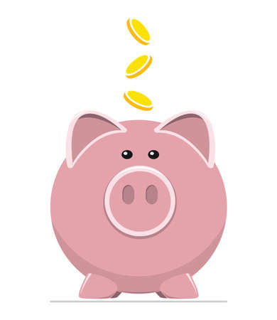 Icon of pig bank and coins, save money in piggy bank flat illustration
