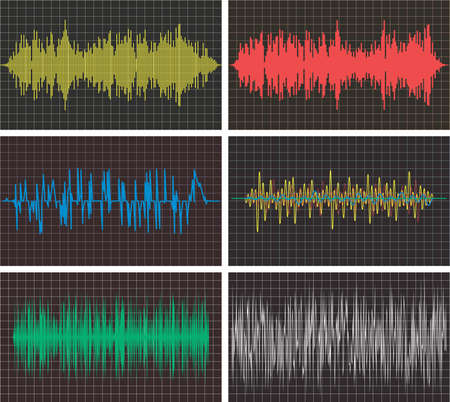 soundwave: vector music backgrounds of audio sound waves pulse, equalizer voice frequency, black and white set