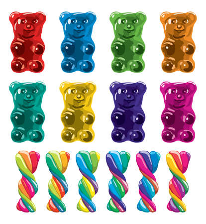 vector gummy bear candies and twisted lollies isolated on white background Illustration