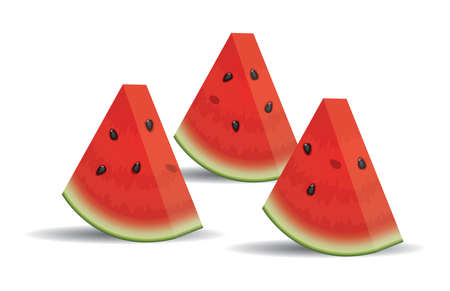 vector watermelon slices isolated on white background. juicy ripe watermelon slices for healthy food backgrounds. eps10 illustration