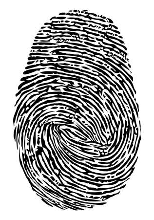 vector fingerprint icon. black finger print symbol isolated on white background. thumbprint security unique id, crime identity illustration. human thumb biometric pattern Illustration
