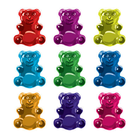 gummy: vector gummy bear candies isolated on white background. collection of colorful candy bears