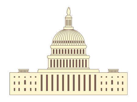 district of columbia: vector icon of united states capitol hill building washington dc, american congress dome, brown and yellow symbol design isolated on white background Illustration