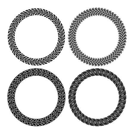 vector set of round tire tracks. tractor and car circle patterns. design of tyre prints and copy-space for your text. black and white illustration