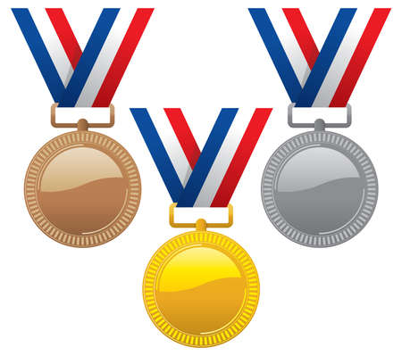 vector set of gold, silver and bronze medals with ribbons. champion award medal icons. sport winner symbols isolated on white background.
